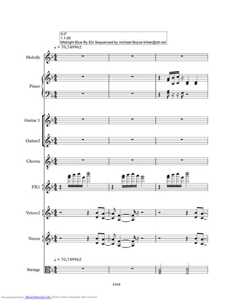 Midnight Blue music sheet and notes by ELO @ musicnoteslib