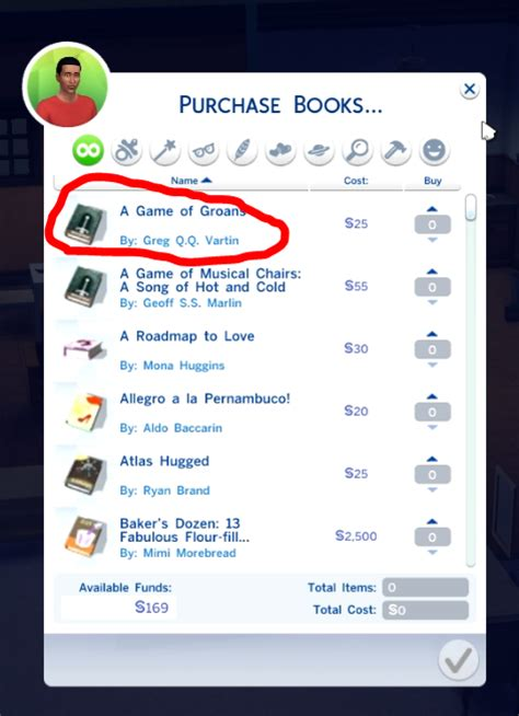 The Sims 4 funny book names list