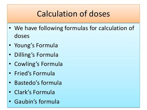 Calculation of dosage & metric system