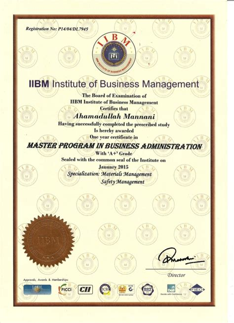 Certificate Business Administration – certificates